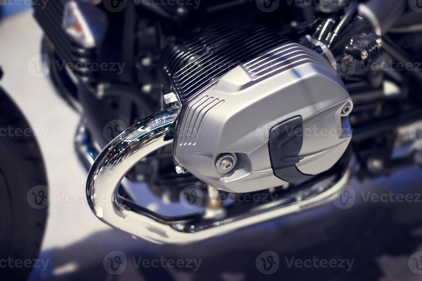 krom modern motorcykel närbild foto