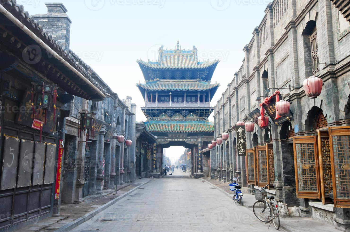 historisk kinesisk stad (gamla stan i Pingyao, Kina) foto