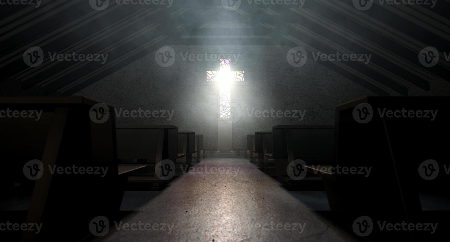 målat glas fönster korsfästelse kyrka foto