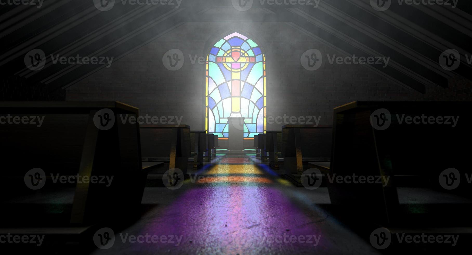 målat glas fönster kyrka foto