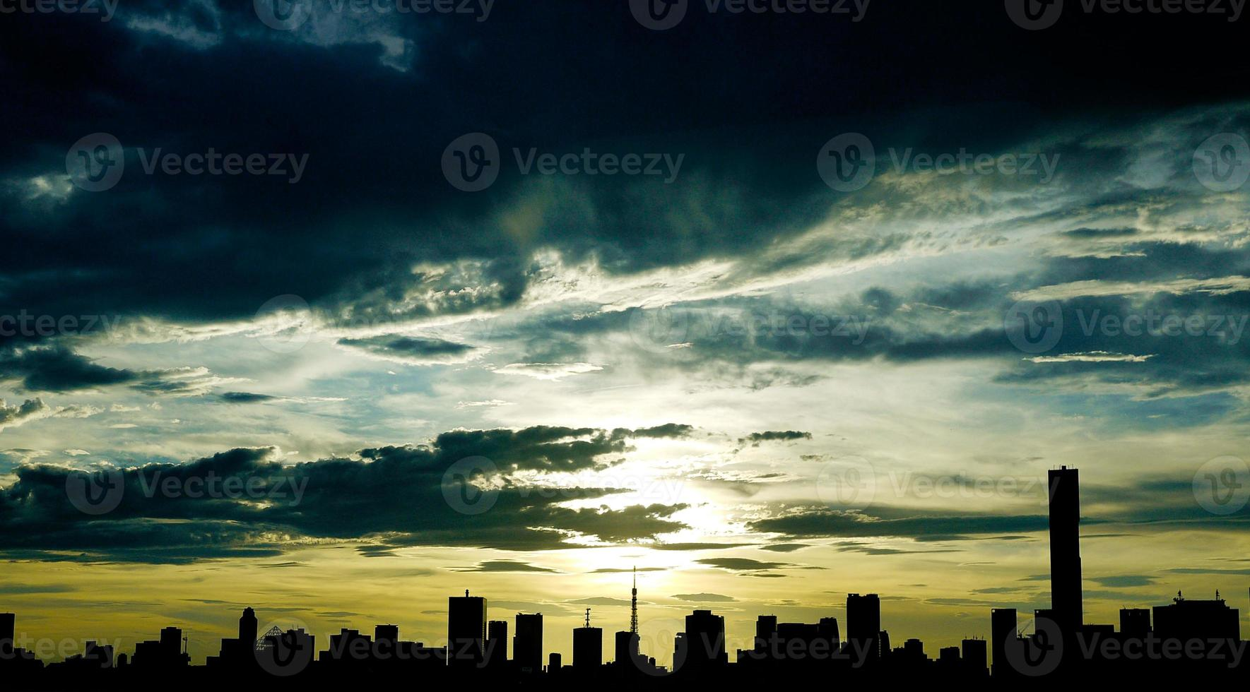 silhuett tokyo stad foto