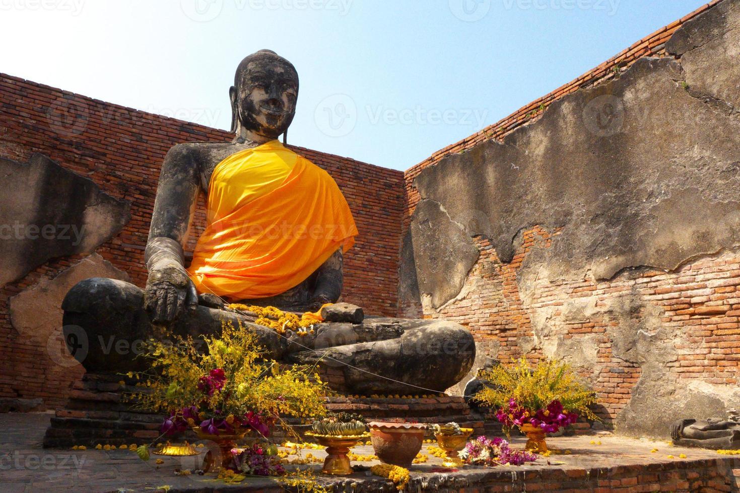 staty av buddha i ayuddhaya Thailand foto