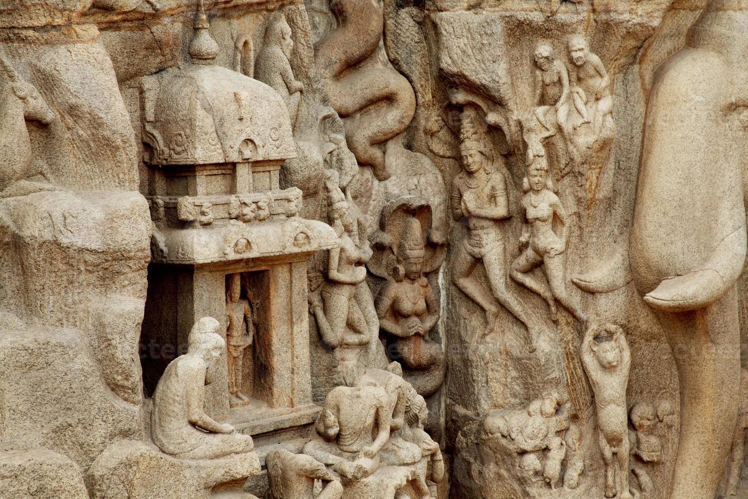 arjunas bot - nedstigande av gängarna, mahabalipuram, Indien foto