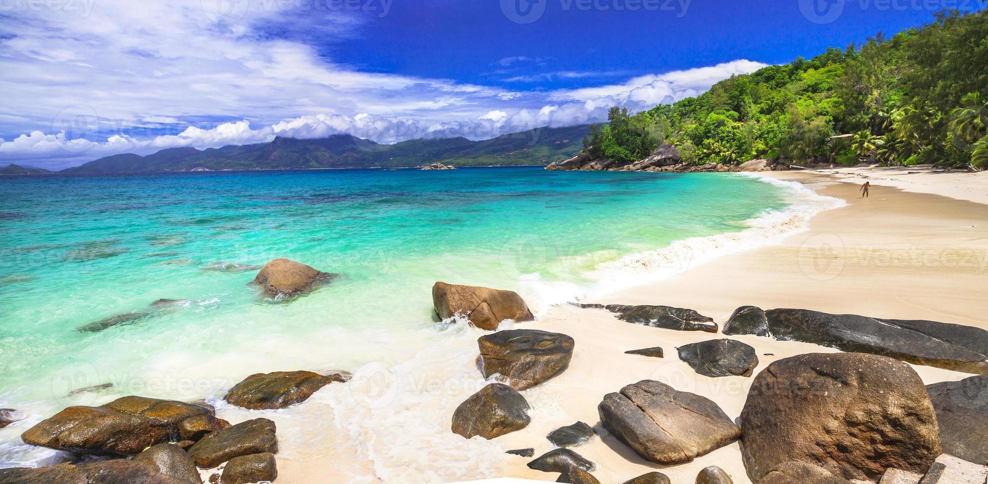 panorama över otroliga seychellerna foto