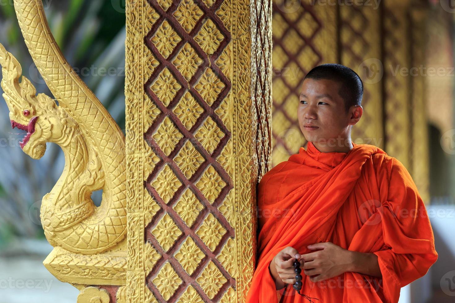 porträtt av en ung buddhistisk munk, laos foto