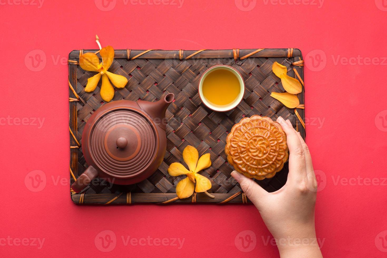 mooncake och te foto
