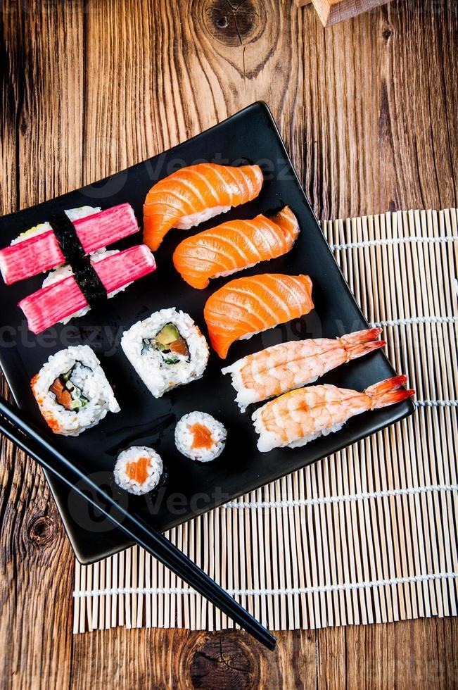 färgglada japanska tema med sushi foto