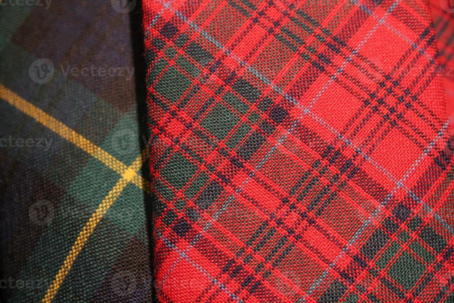 närbild av tartan tyg, Skottland. foto