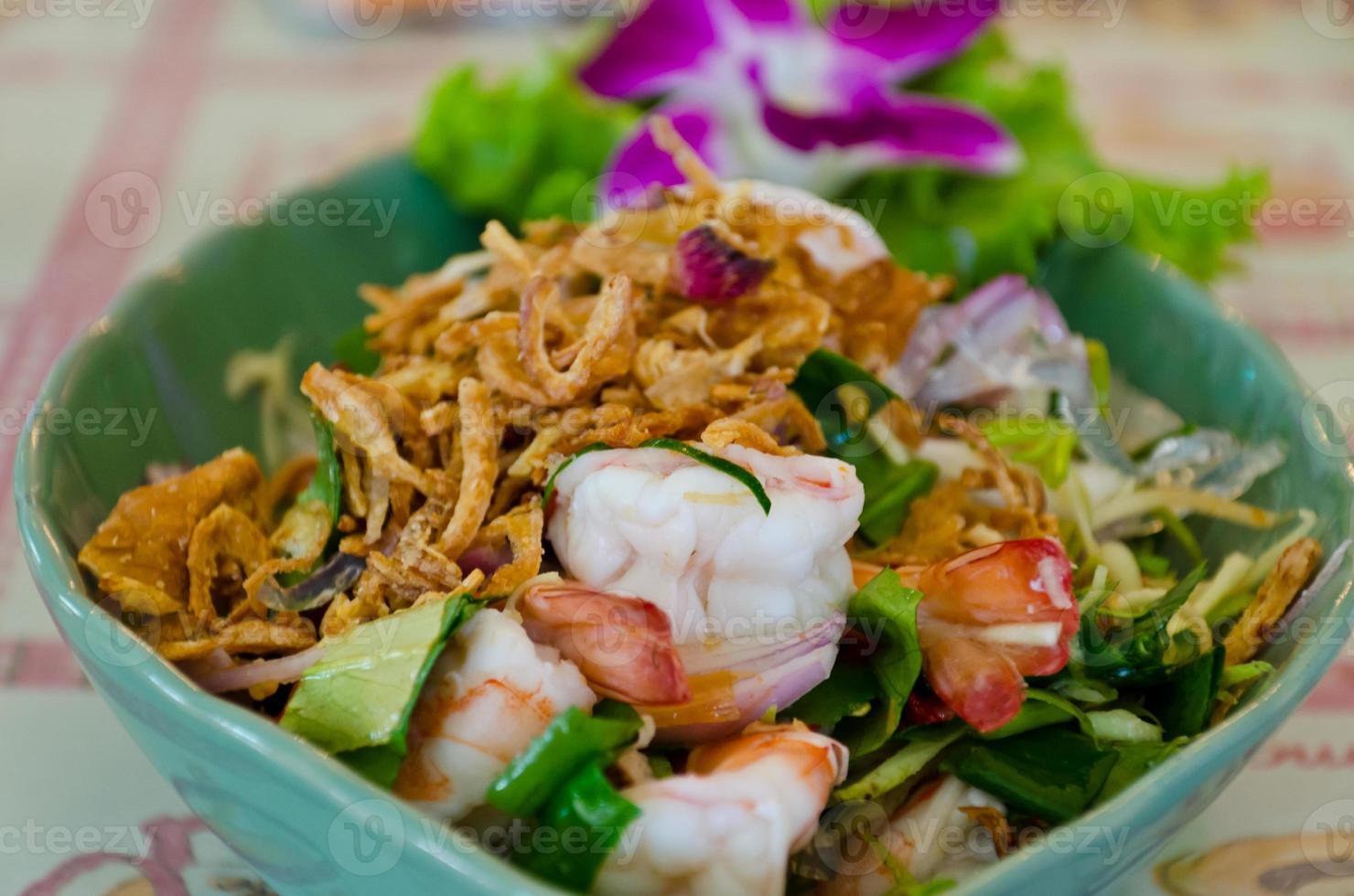 räksallad i thailändsk stil foto