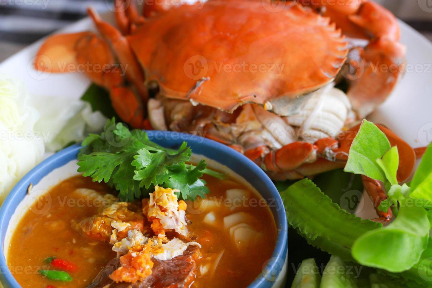 thailändsk mat kryddig ört chilisås, selektiv inriktning foto