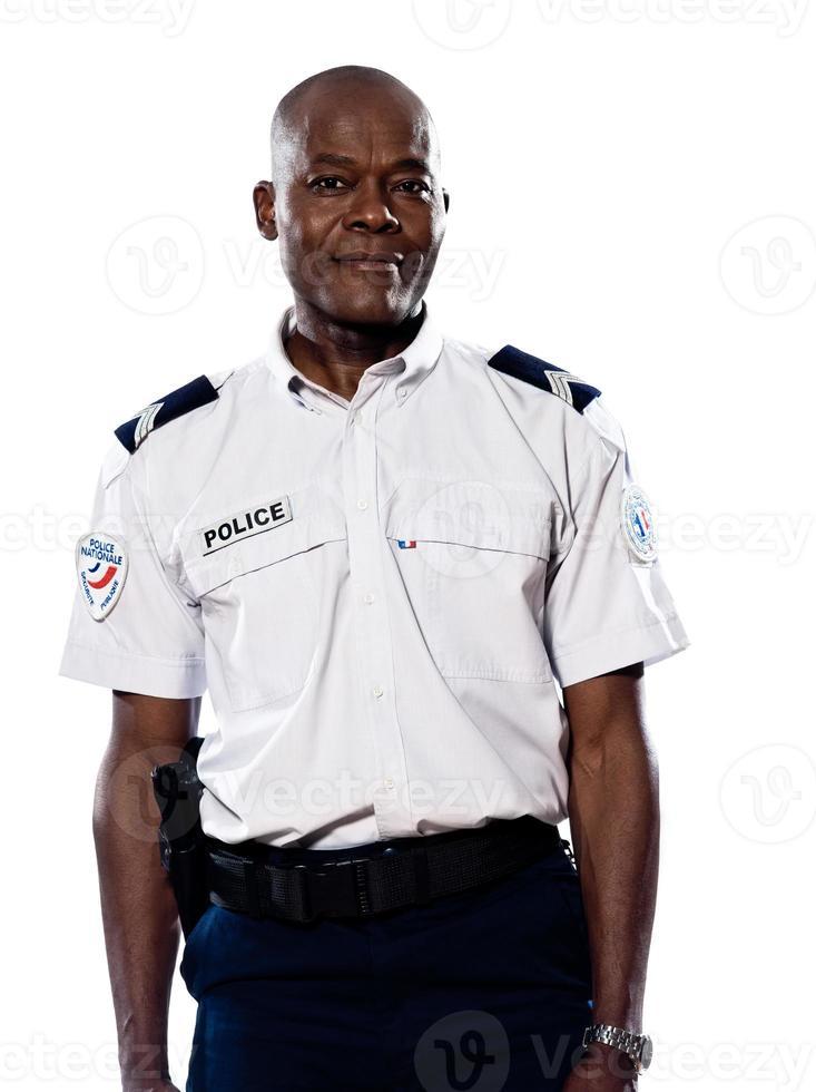 porträtt av mogen polis foto