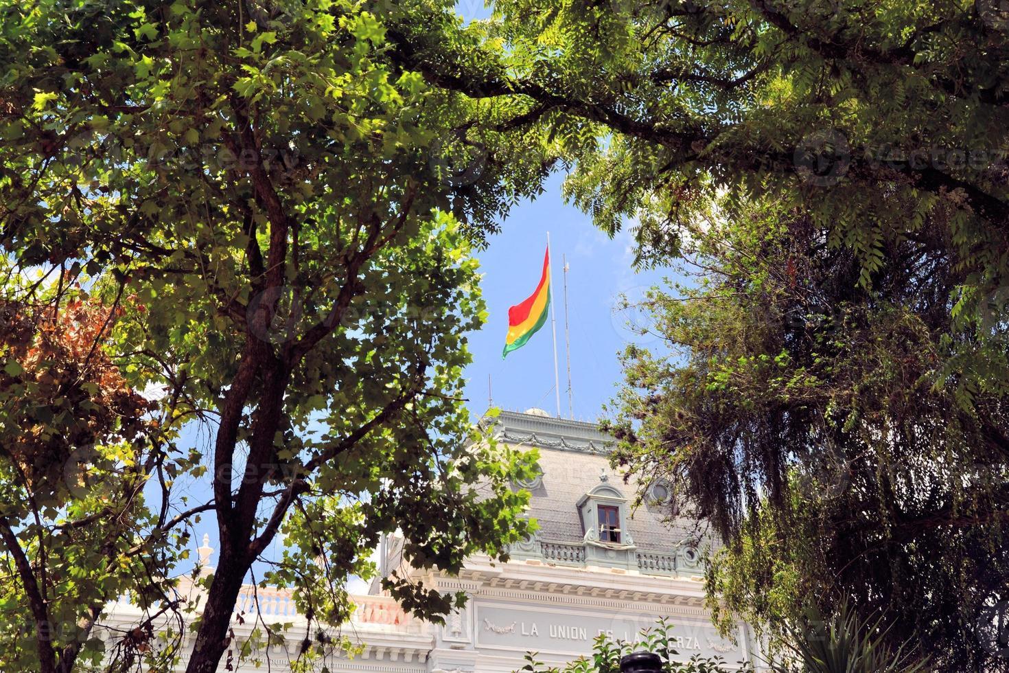 regeringsbyggnad av huvudstaden sucre, bolivia foto