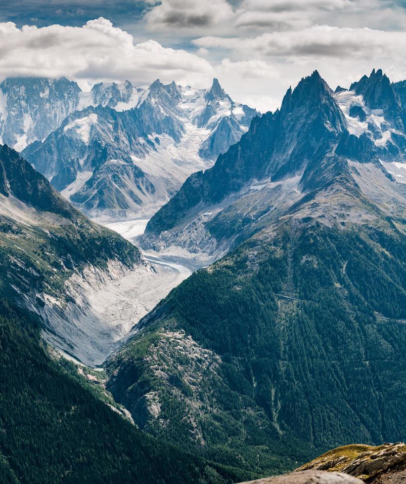 vallee blanche från lac blanc, france foto