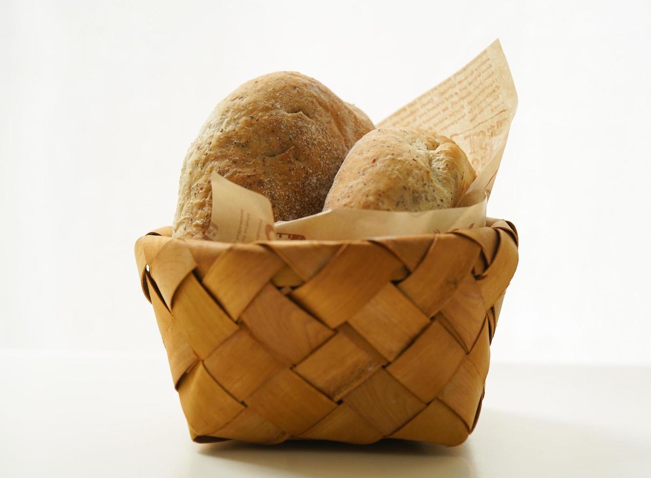 närbild av brödkorg foto