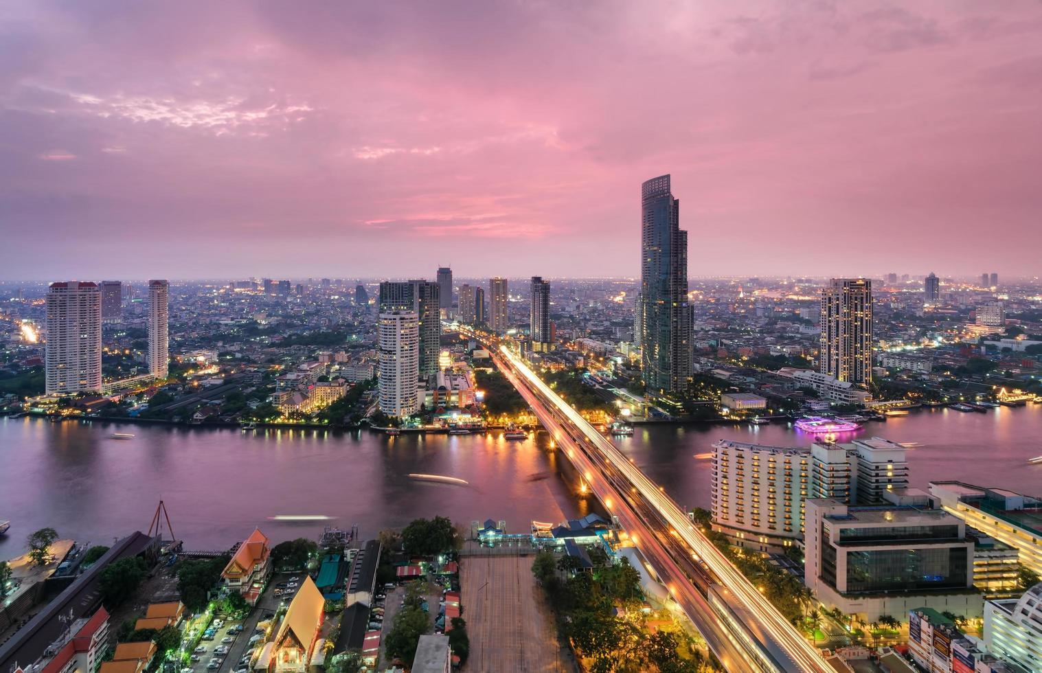 bangkok stadshorisont, Thailand foto
