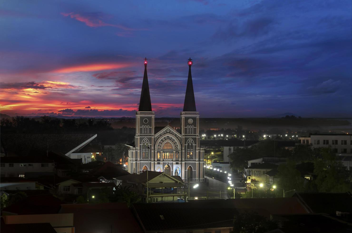katolsk kyrka i Chantaburi-provinsen, Thailand foto