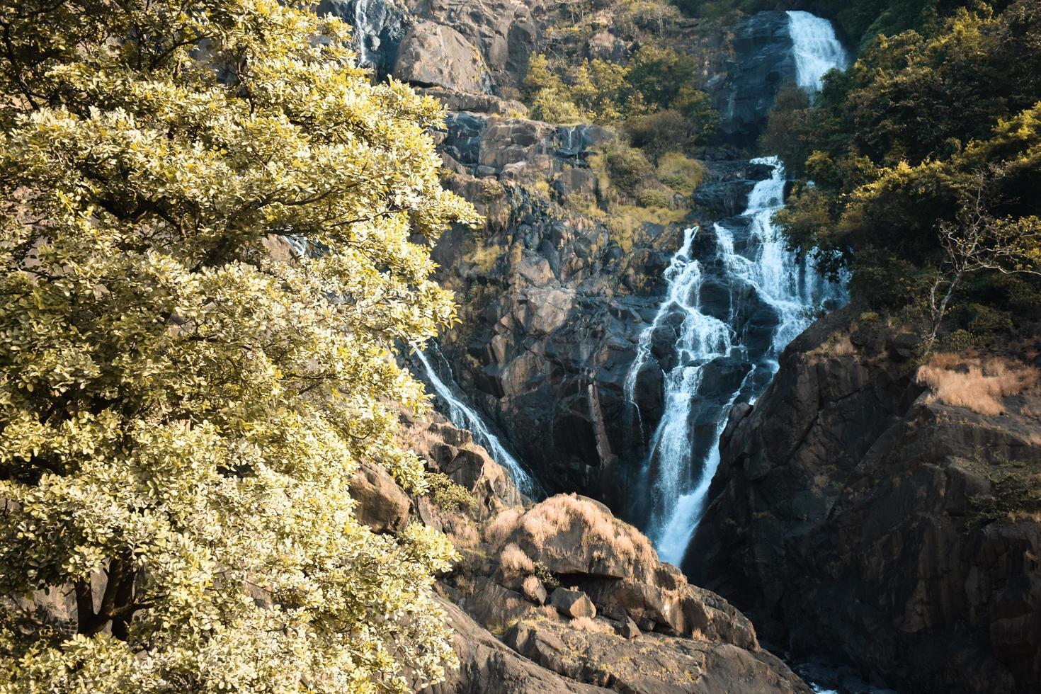 vackert vattenfall som kommer från berget foto