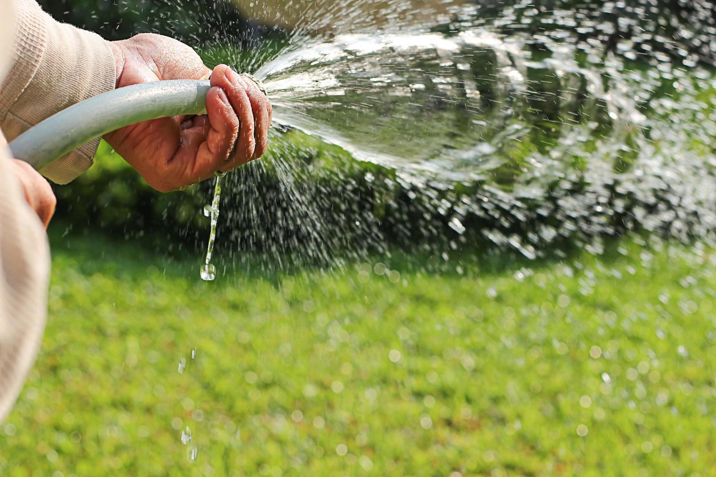närbild av hand som håller trädgårdsslang foto