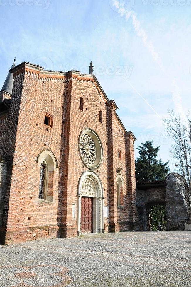 castiglione olona den medeltida collegiata (kyrka), fasad, vare foto