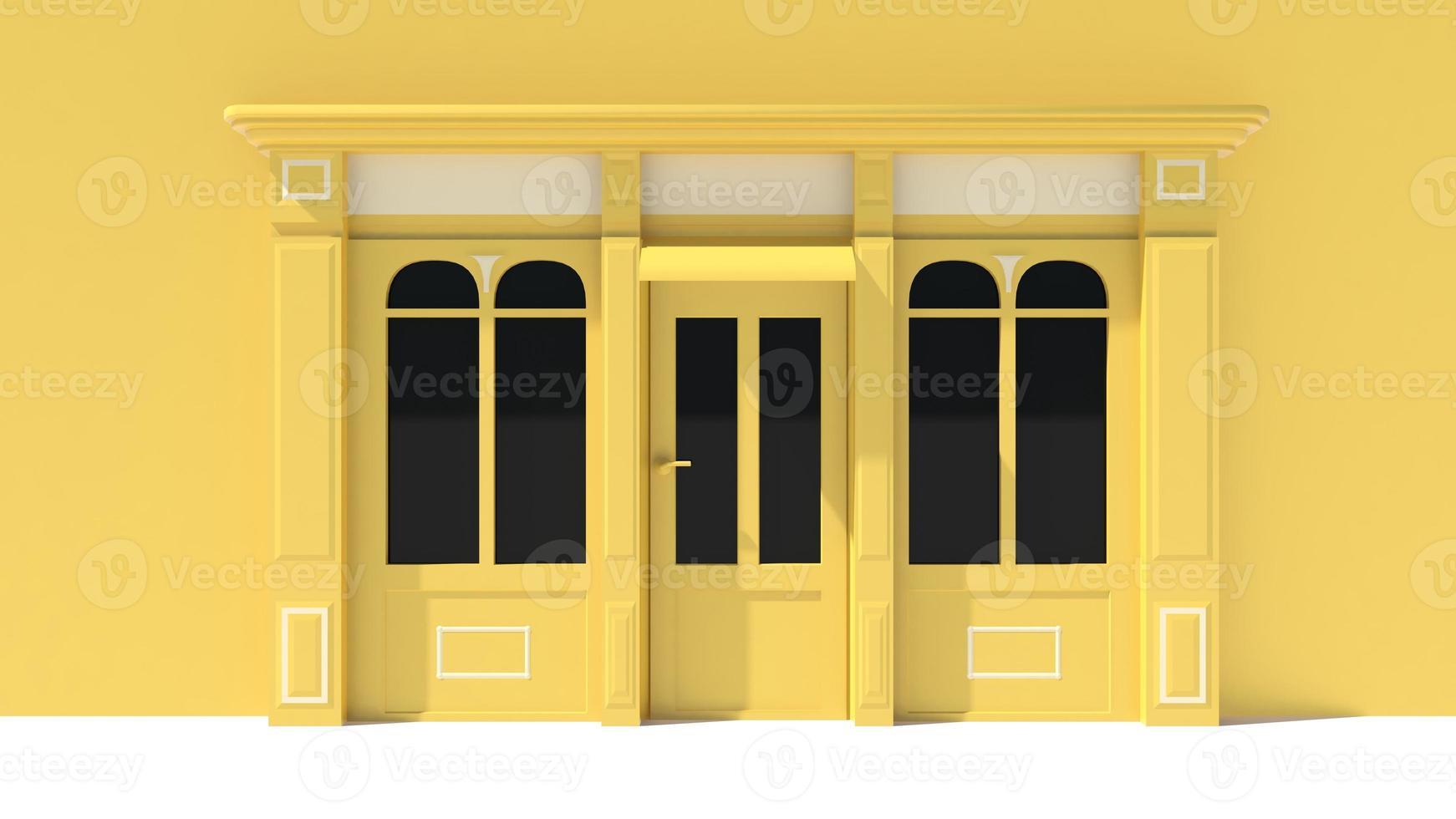 solig butik med stora fönster i vit och gul butik foto