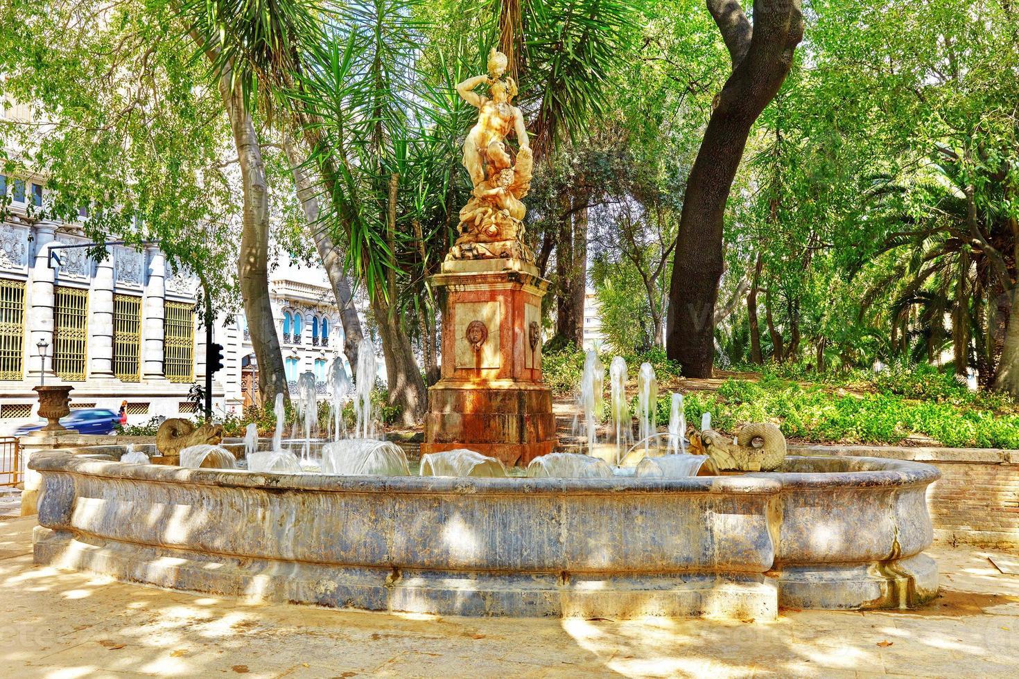 fontän i parken - platser i Valencia foto