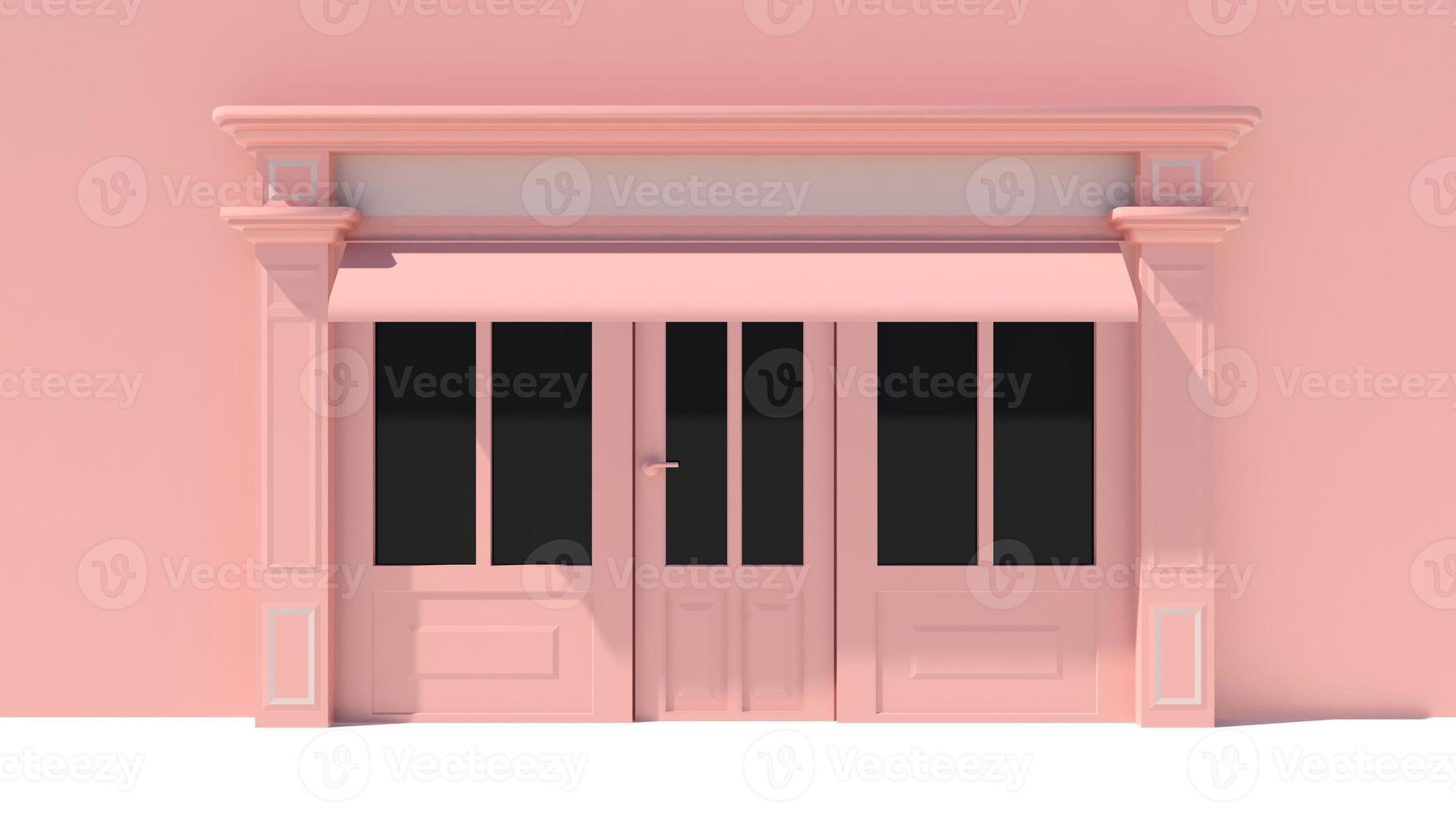 solig butikstrand med stora fönster i vit och rosa butik foto