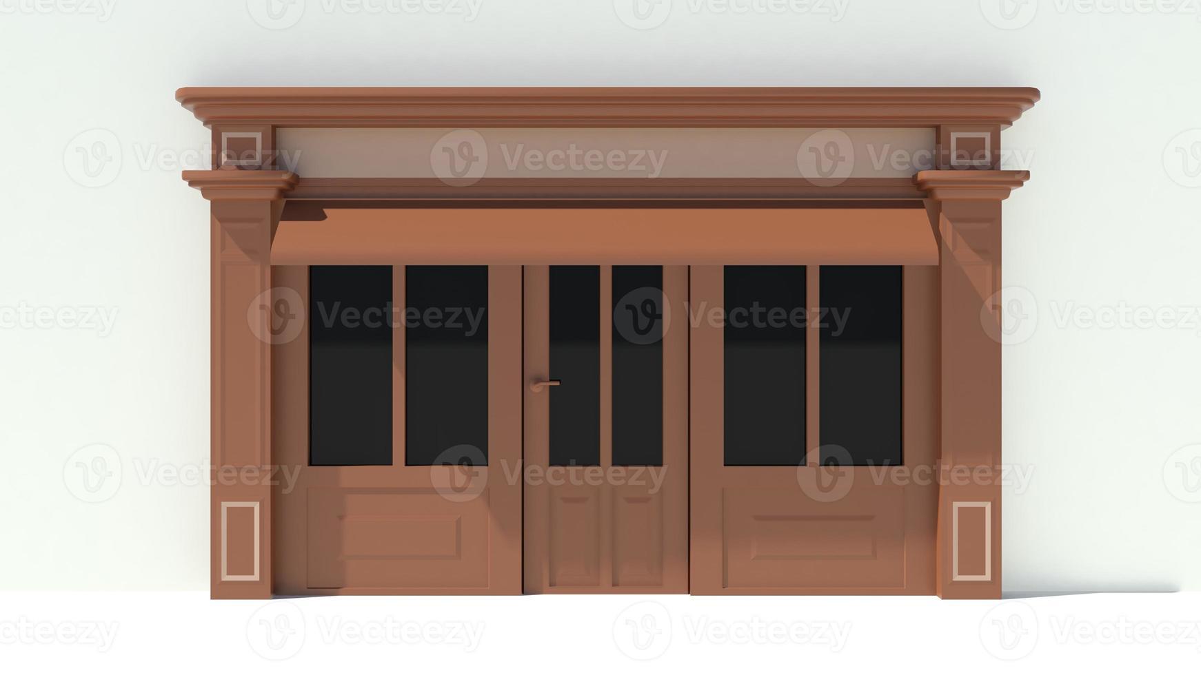 solig butiksfront med stora fönster vit och brun fasad foto