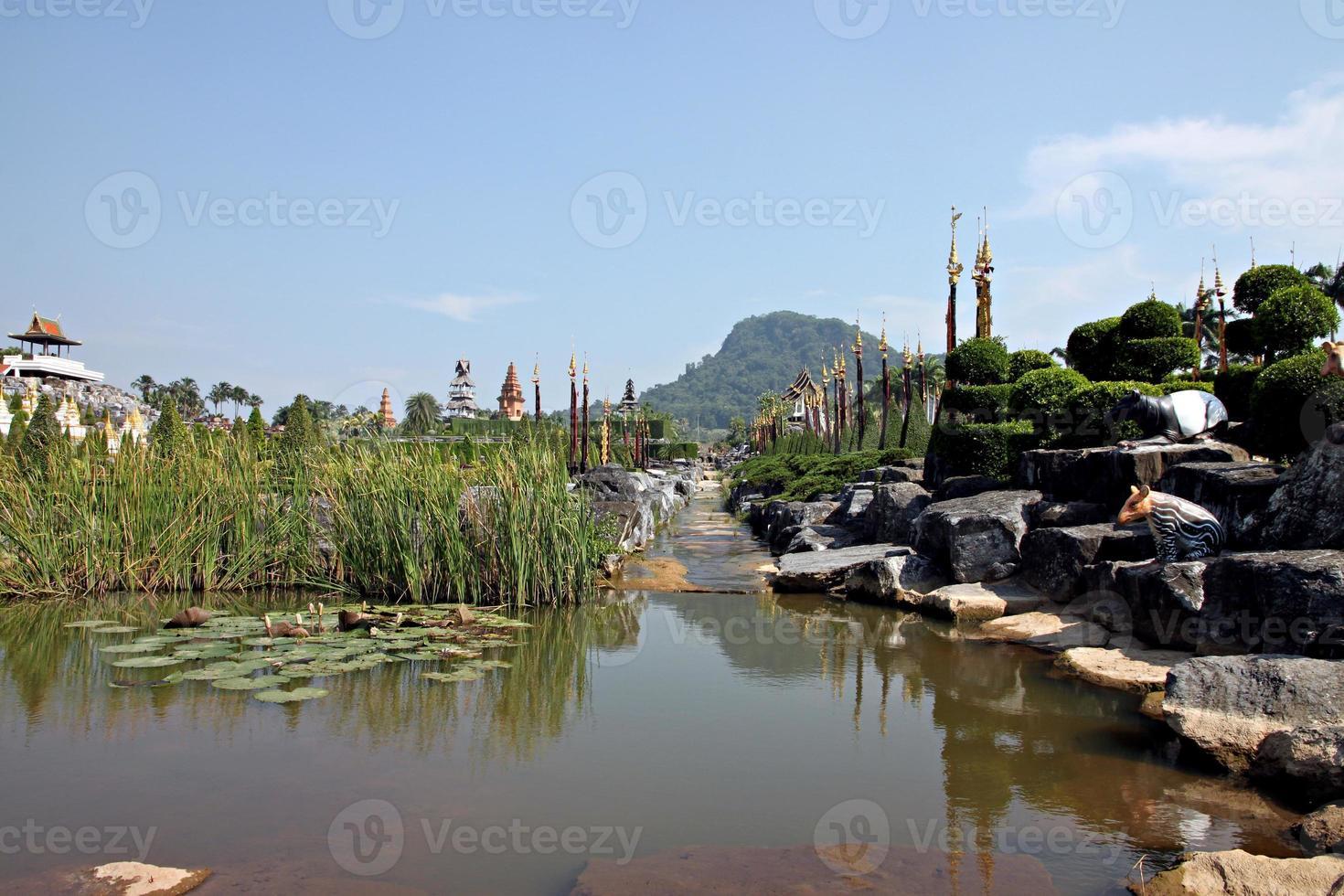Thailand trädgårdsutsikt. foto