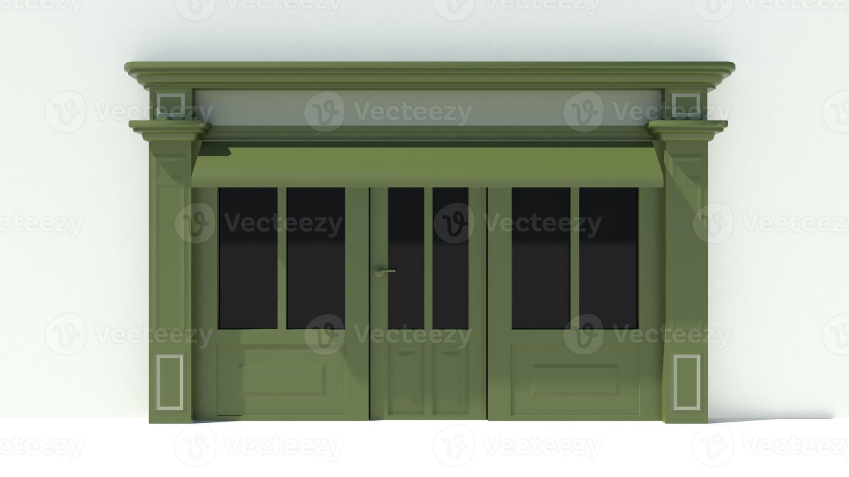 solig butikstrand med stora fönster vit och grön butik fasad foto