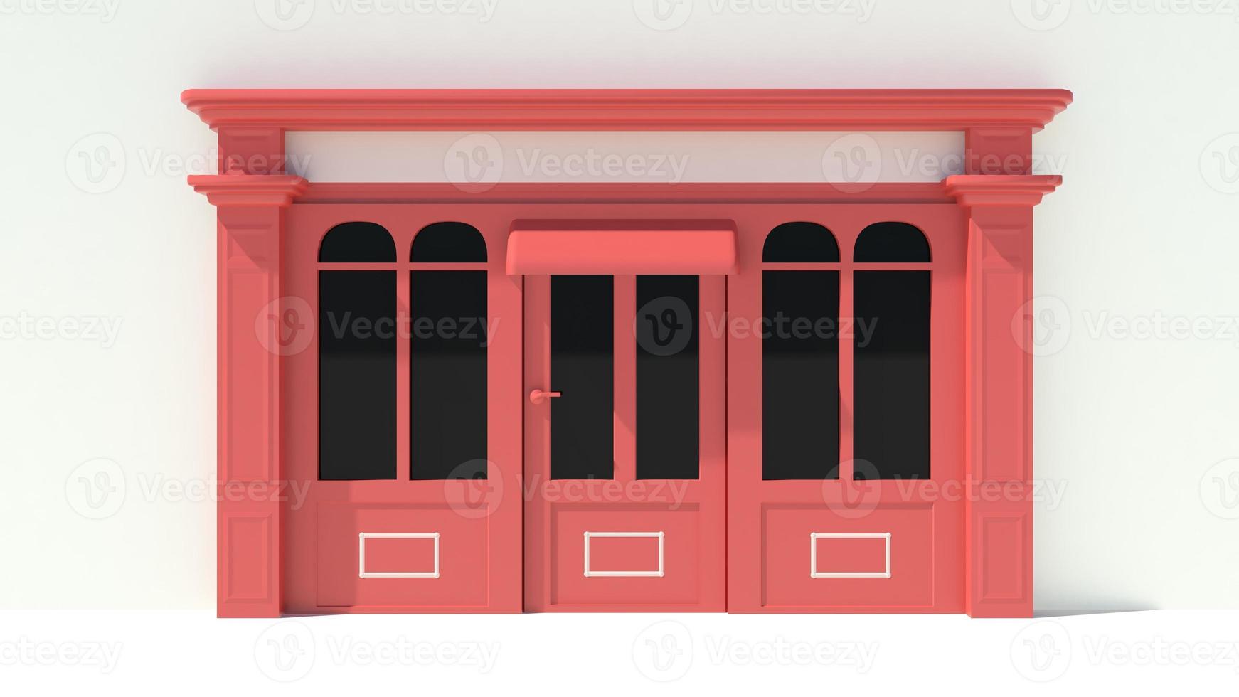 solig butikfront med stora fönster vit och röd butik fasad foto