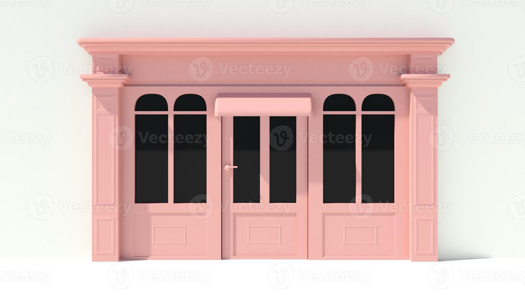 solig butikfront med stora fönster i vit och rosa fasad foto