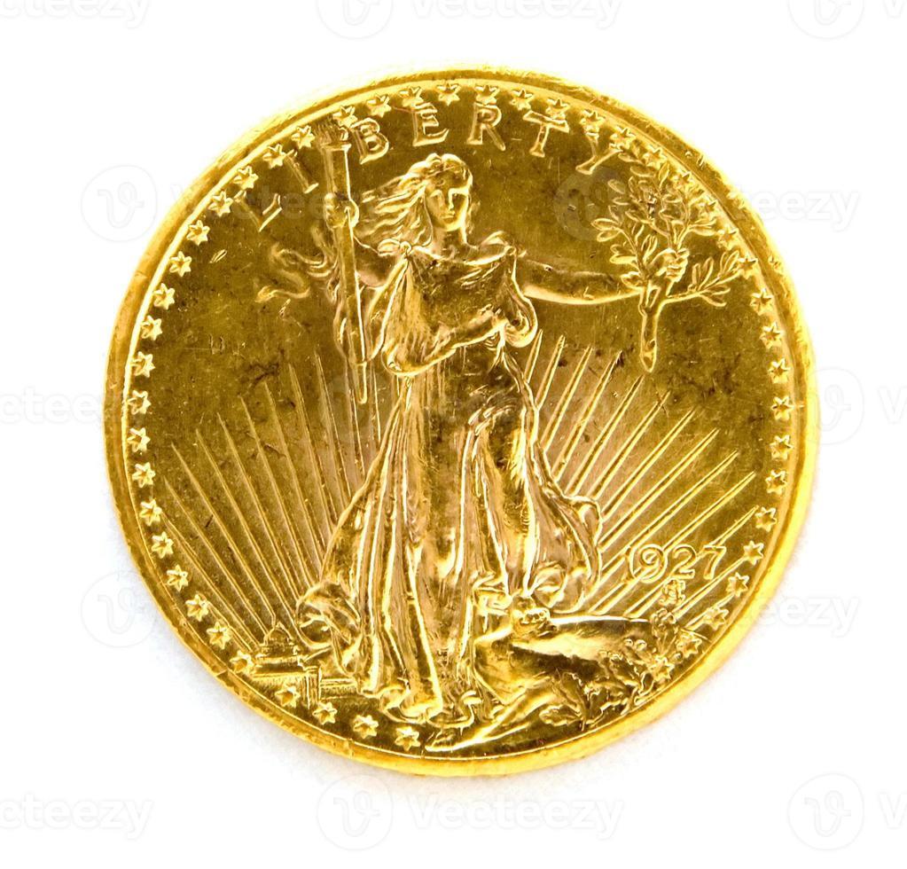 framför oss tjugo dollar st. gauden dubbel örn guldmynt foto