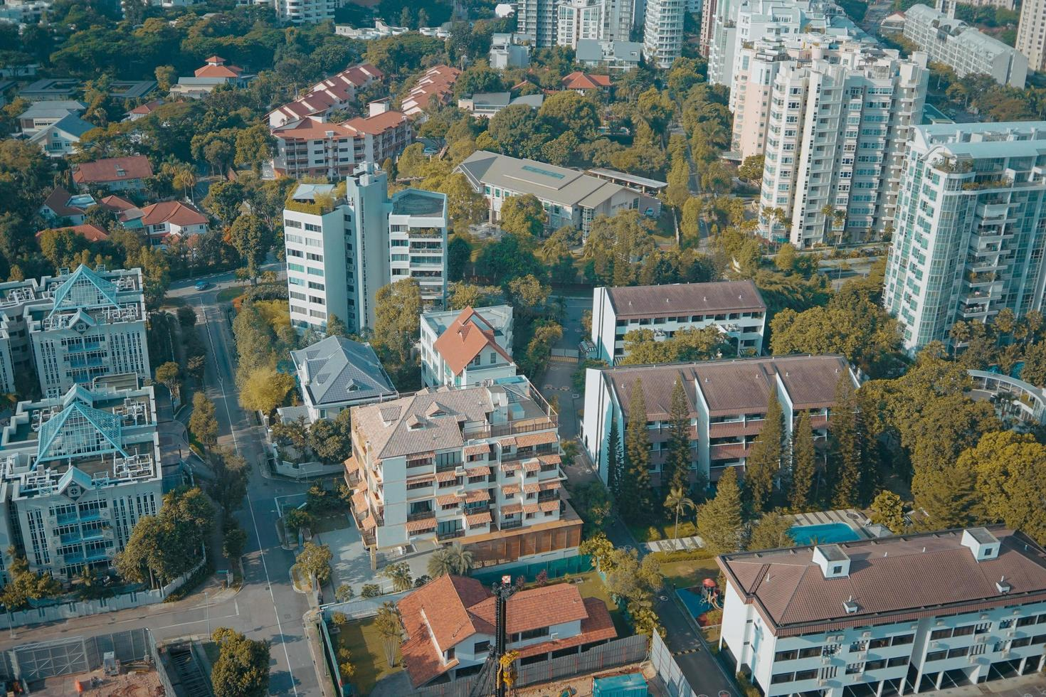 Flygfoto över stadsbilden foto