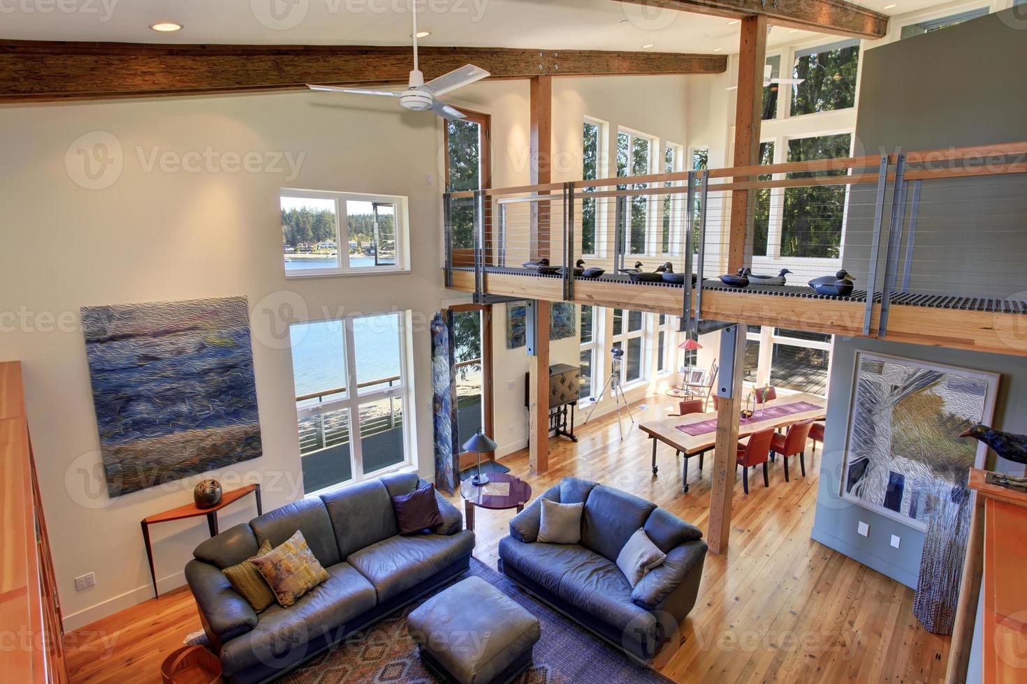 moderniserat vardagsrum med skinnsoffor. foto