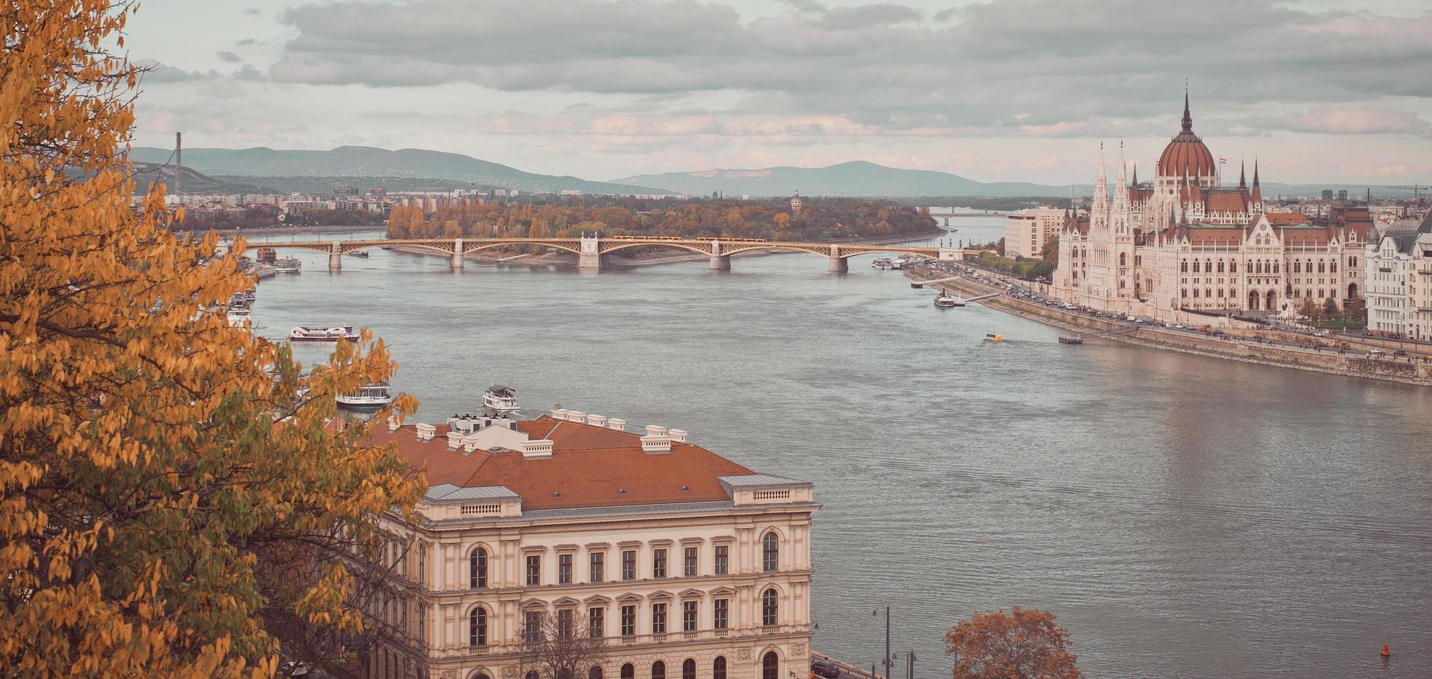 vatten, bro och byggnader foto