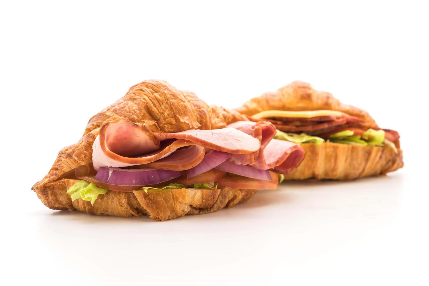 croissant skinka smörgåsar foto