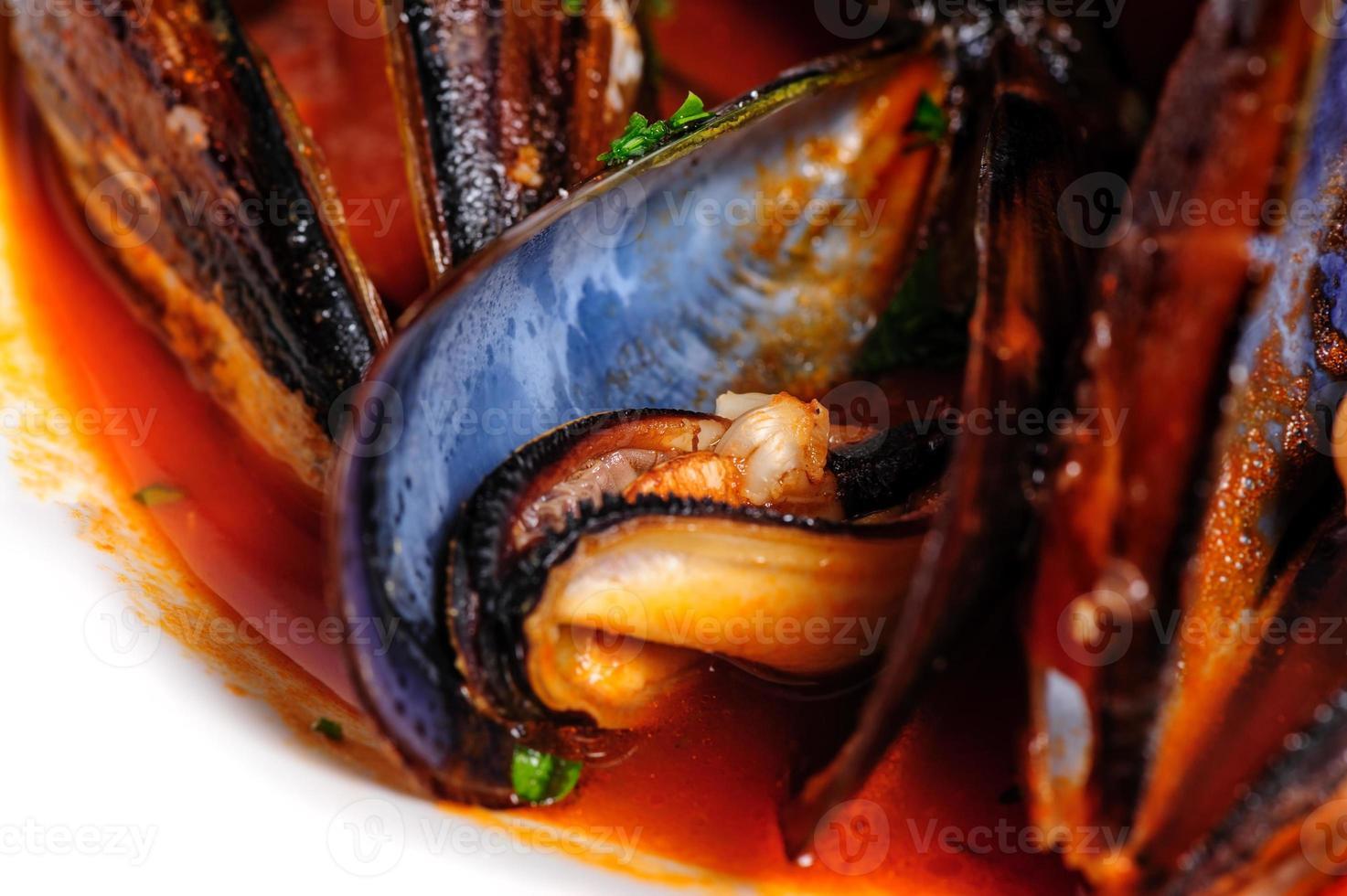 musslor i italiensk rustik stil foto
