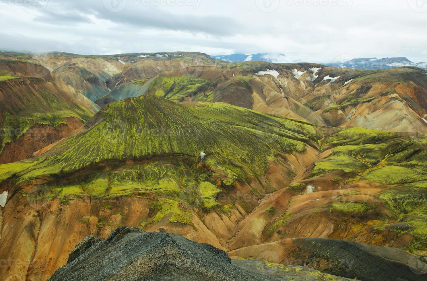 mångfärgade berg vid landmannalaugar, foto