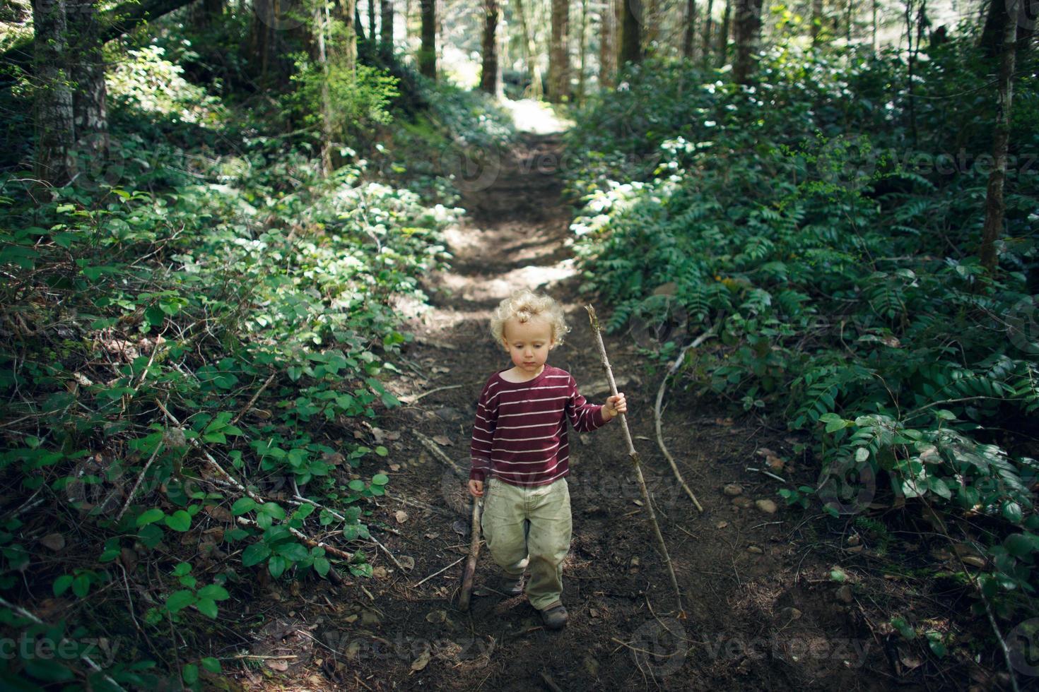 liten pojke som utforskar i skogen foto
