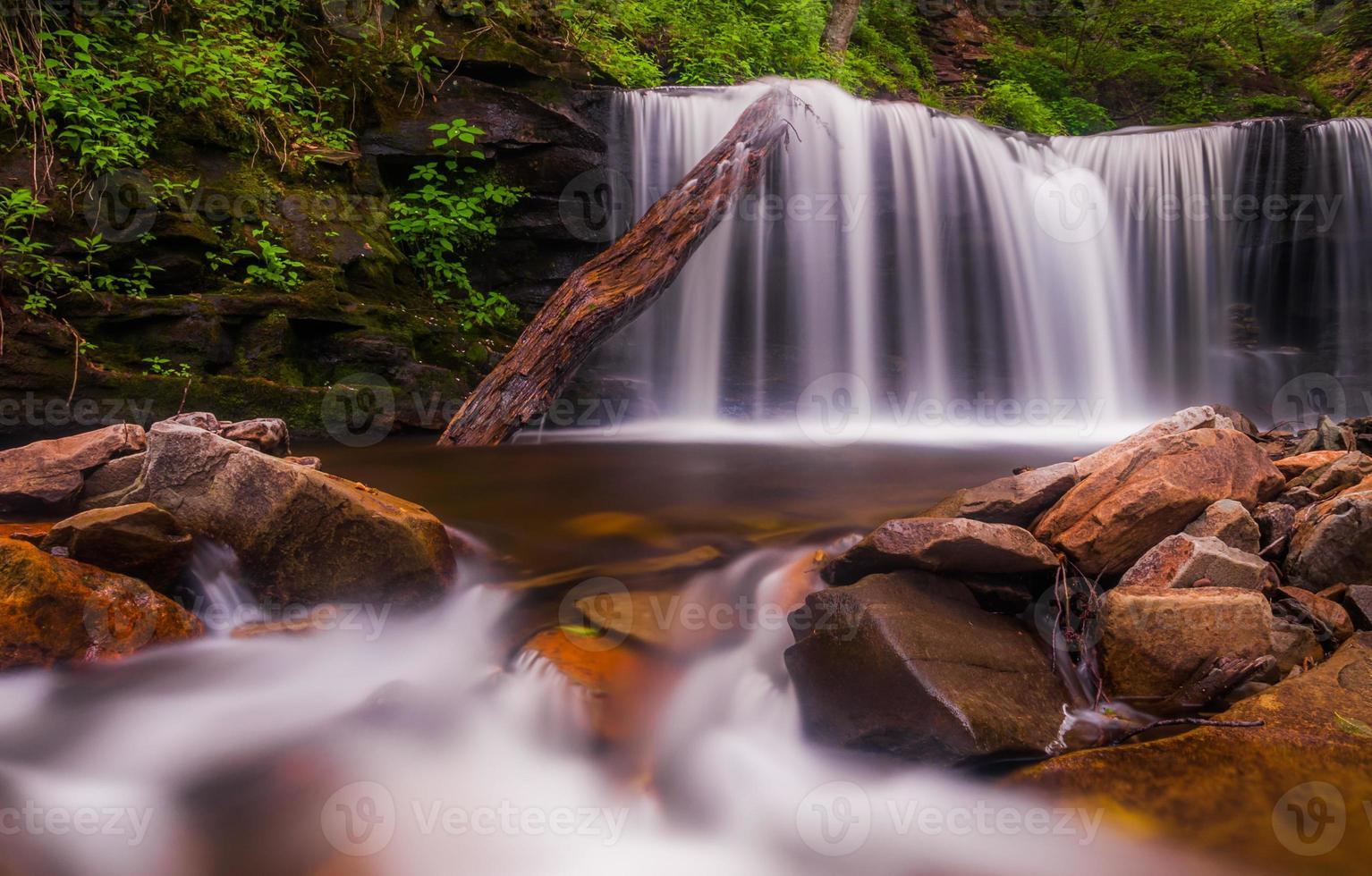 vackert vattenfall vid Rickett's Glen State Park, Pennsylvania. foto