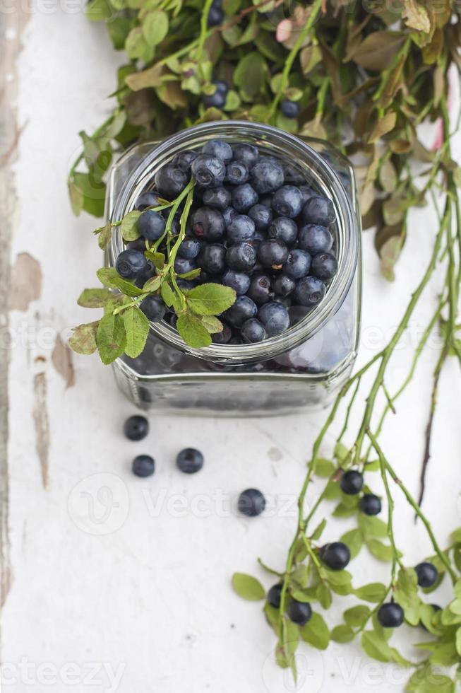 färska blåbär i en skål, på ett träbord. foto