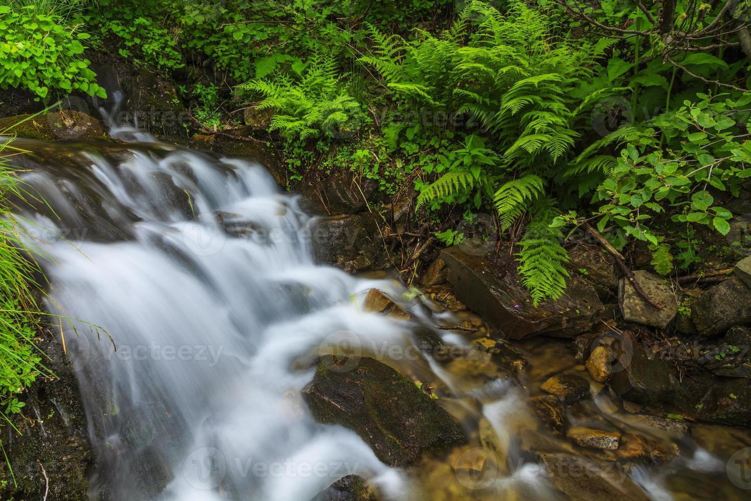 vackra berg vattenfall på sommaren foto