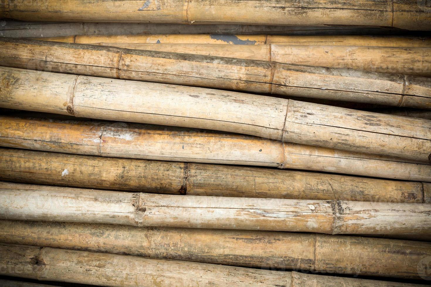 närbild bakgrund av torra tjocka bambustänger med vinjett foto