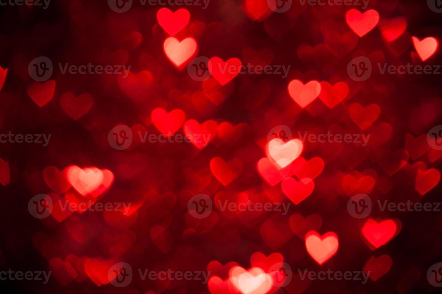 röd bokeh av hjärtan bakgrund foto