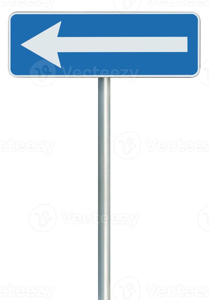 vänster trafikväg endast riktning tecken svängpekare, blå isolerad foto
