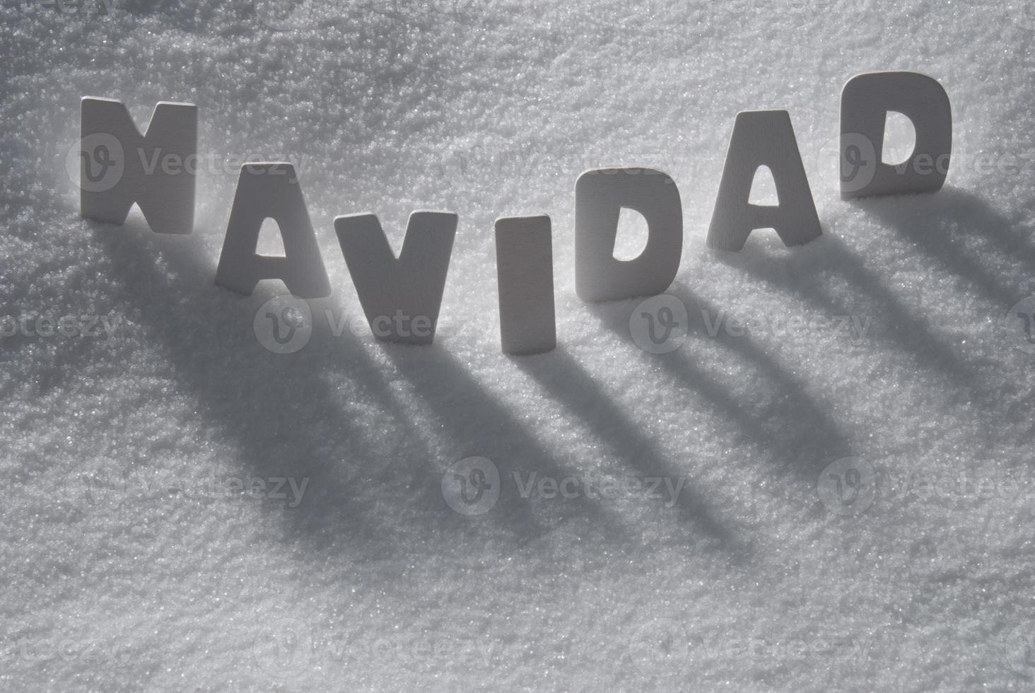 vitt ord navidad betyder jul på snö, snöflingor foto