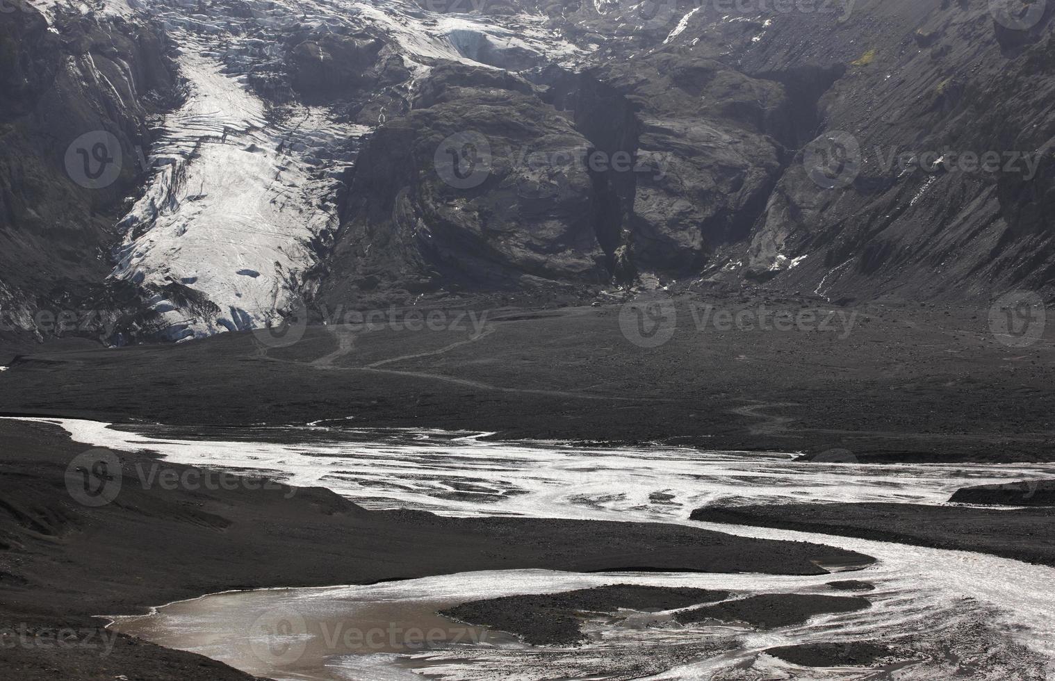 Island. södra området. eyjafjalajokul glaciar tunga och flod. foto