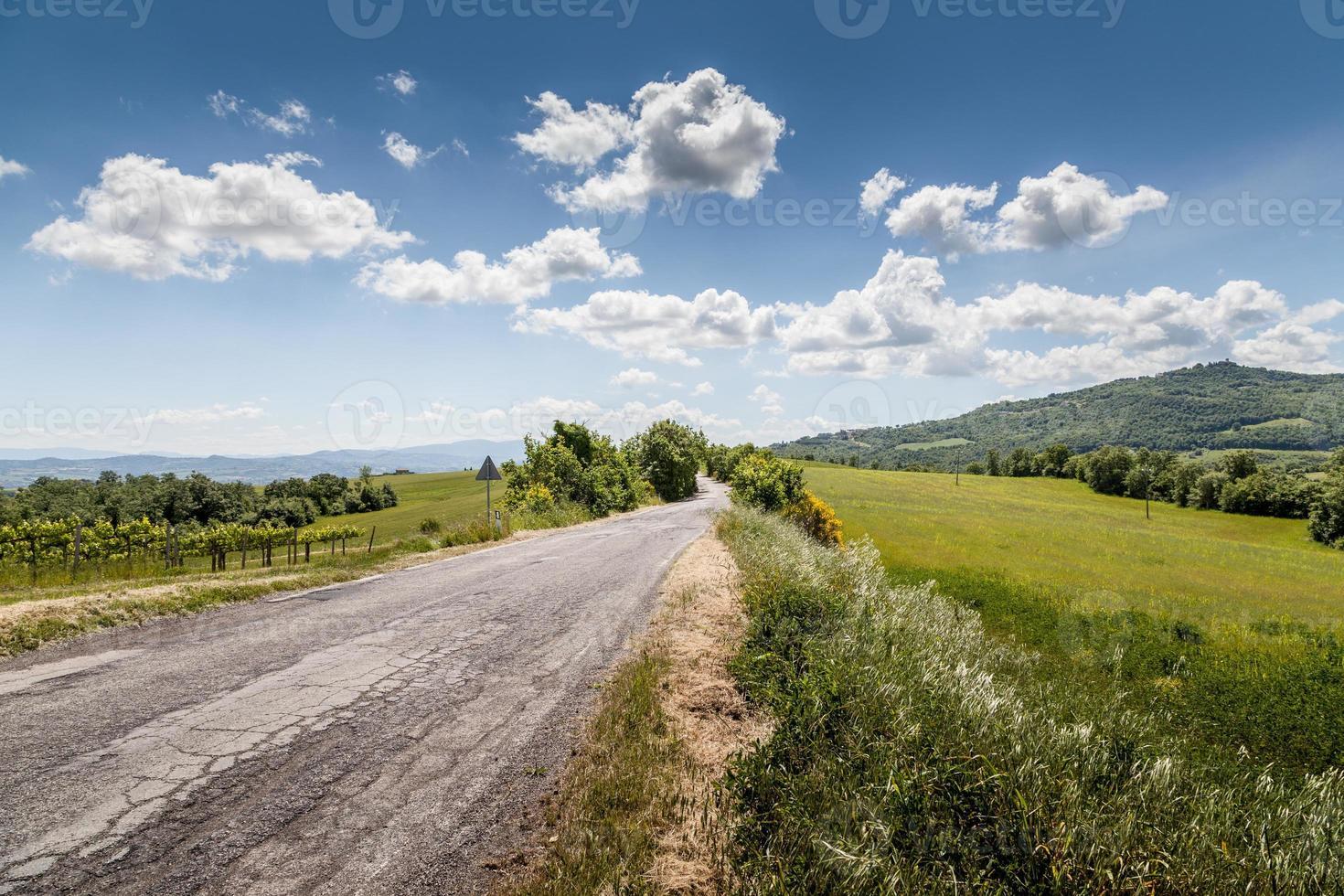 panoramautsikt. kuperat i Toscana, Italien foto