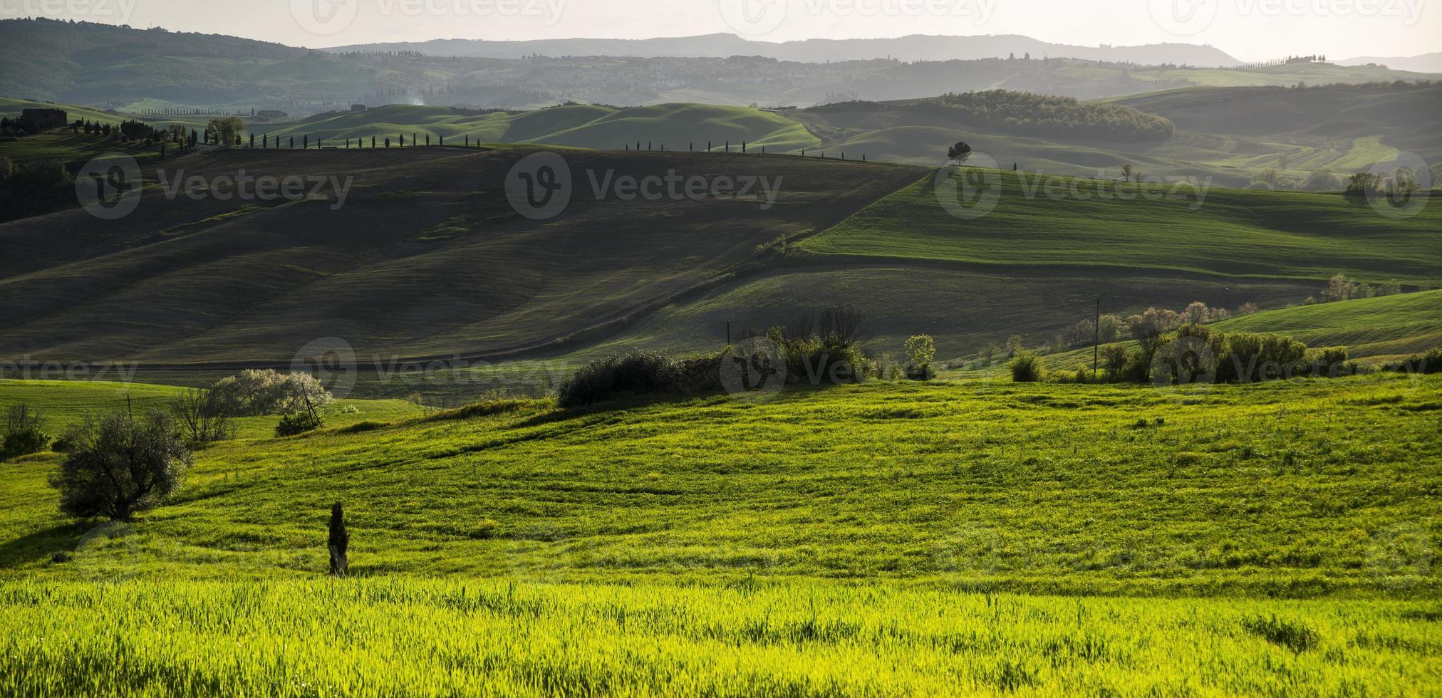 solnedgång i cortona. toscana pienza. Italien. Europa. foto