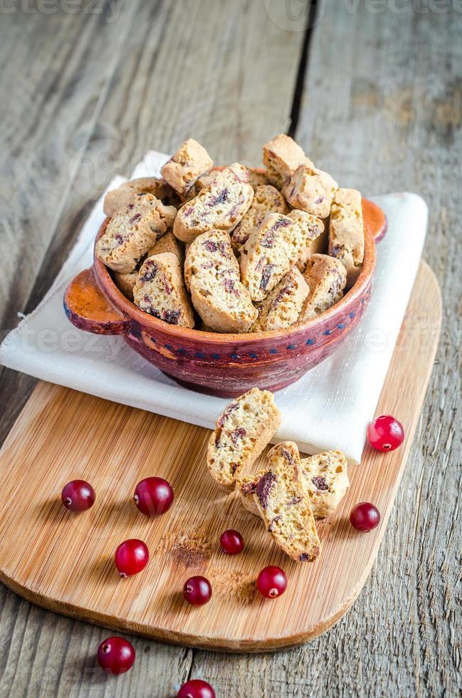 biscotti med torkade tranbär foto